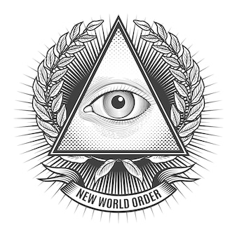 Alle wakend oog in deltadriehoek. pictogram piramide en vrijmetselarij, embleem van de nieuwe wereldorde,