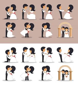 Alleen getrouwde stellen in verschillende houdingen. vectorillustratie in vlakke stijl. trouwkoppel.