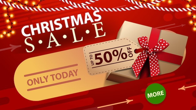 Alleen vandaag, kerstuitverkoop, tot 50% korting, rode kortingsbanner met slinger, knop en geschenken met prijskaartje.