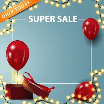 Alleen vandaag, super verkoop, vierkante banner met kopie ruimte
