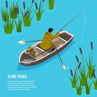 Alleen visser met spinnende staaf in boot op blauw water met isometrisch riet