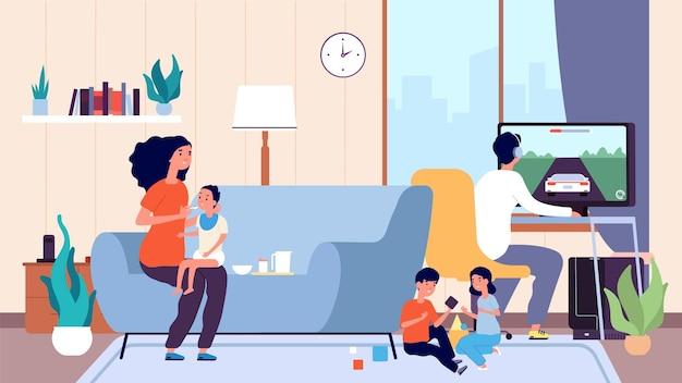 Alleenstaande moeder. moeder voedt baby, groot gezin. nanny of babysitter en kleine kinderen in kamerillustratie. oudervrouw of babysitter met kinderen
