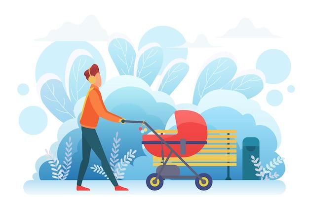 Alleenstaande vader die met kinderwagen loopt