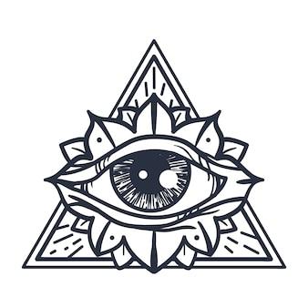 Allemaal het zien van het oog in de driehoek
