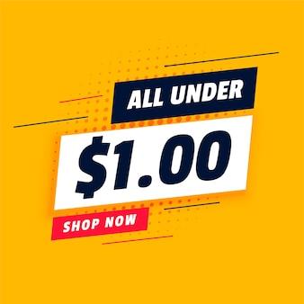 Allemaal onder één dollar shopping sale-banner
