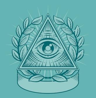 Allemaal ziende oog. zwart-wit afbeelding