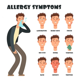 Allergie symptomen met niezen cartoon man. medische vectorillustratie