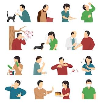 Allergiesymptomen oorzaken flat icons set