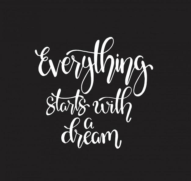 Alles begint met een droom, handschrift. motiverende citaat