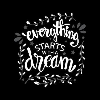 Alles begint met een droom, motiverende quote.