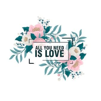 Alles wat ik nodig heb ben jij. heldere bloemen uitnodigingskaart met vogels, bloemen op lichte achtergrond met bokeh-effect. cartoon romantische achtergrond - ideaal voor huwelijksuitnodigingen. stijlvol bewaar de datumkaart