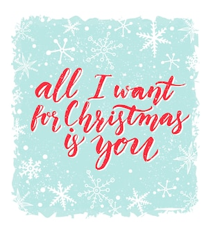 Alles wat ik wil voor kerstmis ben jij wenskaart met romantisch gezegde rode kalligrafie bij blauw