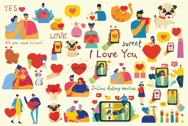 Alles wat je nodig hebt is liefde. handen en mensen met hartjes als liefdesmassages.