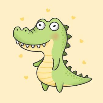 Alligator cartoon hand getrokken stijl