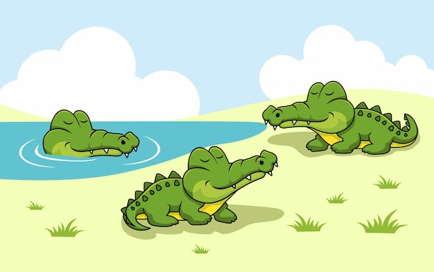 Alligator cartoon krokodil wilde natuur