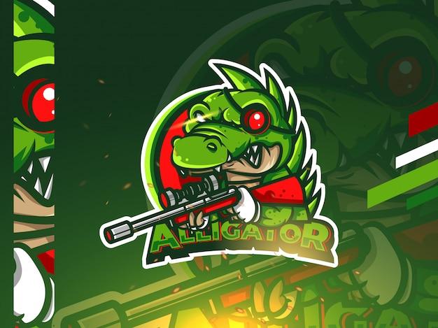 Alligator esport mascotte logo ontwerp