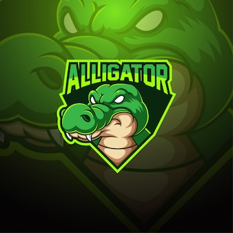 Alligator esport mascotte logo