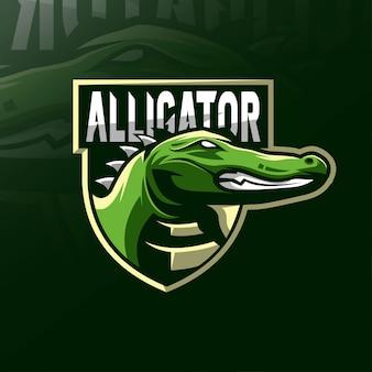 Alligator krokodil mascotte logo esport-ontwerp