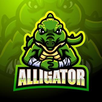 Alligator mascotte esport logo ontwerp