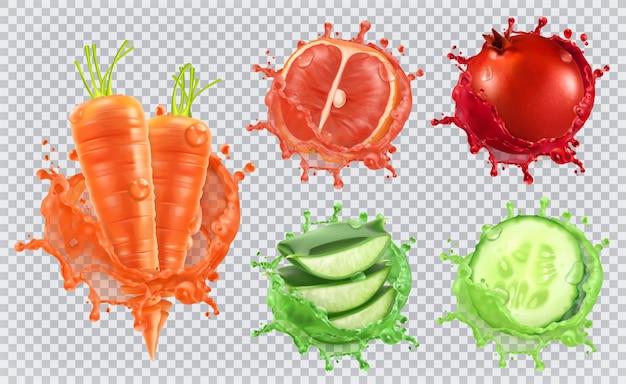 Aloë sap, wortelen, grapefruit, granaatappel, komkommer. gezondheid en zorg.