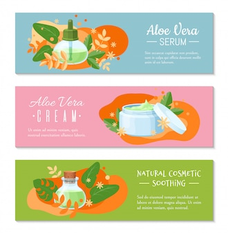 Aloë vera crème, natuurlijke cosmetische verzachtende en serum banner voor website. concept van ontwerpwetenschap.