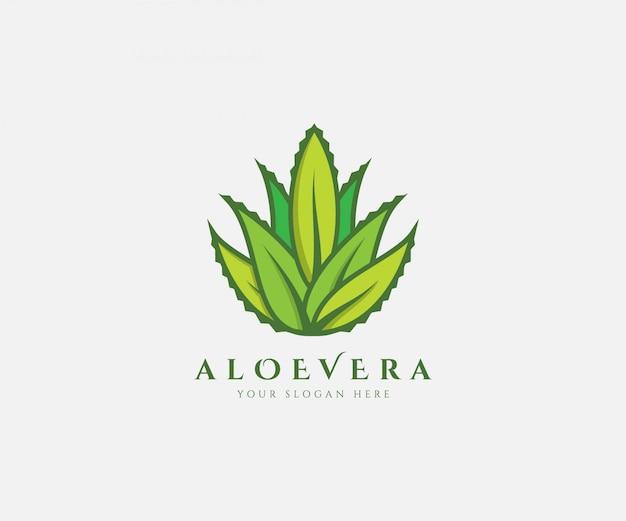 Aloë vera fresh logo green leaf