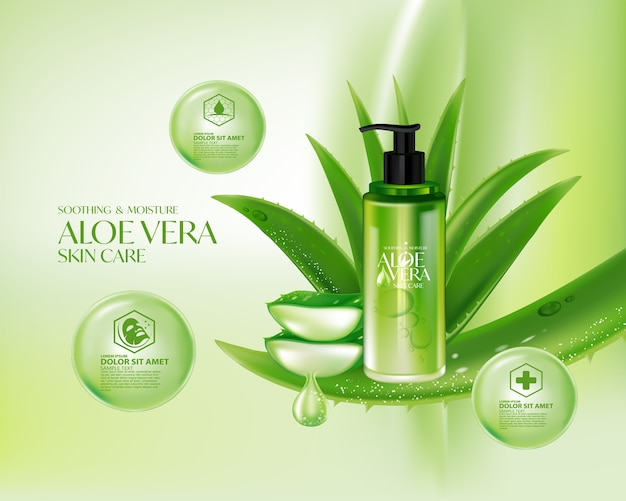 Aloë vera realistische cosmetische huidverzorging voor planten