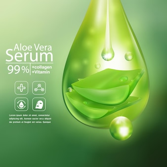 Aloë vera serum voor skincare cosmetic product background