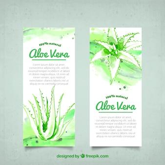Aloë vera waterverf banners