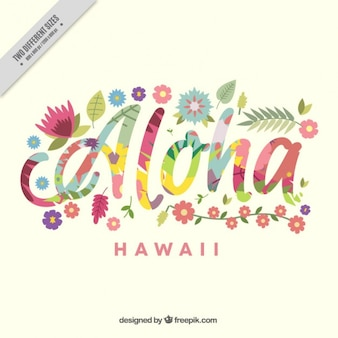Aloha achtergrond met kleurrijke bloemen