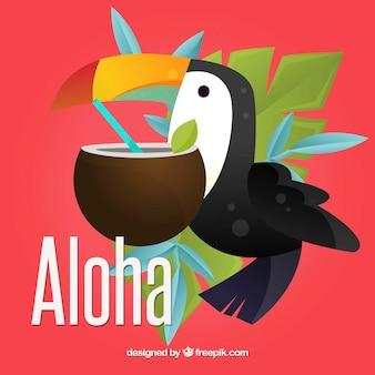 Aloha achtergrond met toucan en kokosnoot
