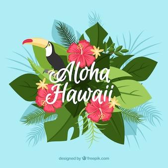 Aloha achtergrond met tropische decoratie en toucan