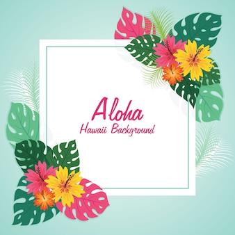 Aloha floral frame stijl achtergrond