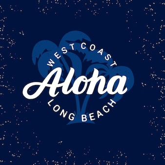Aloha handgeschreven letters met palmen.