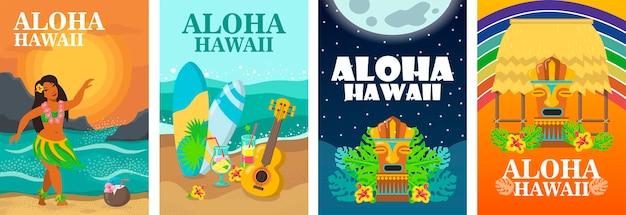 Aloha hawaii poster ontwerpset. tropisch strand, danseres, surfplank en ukelele vectorillustratie