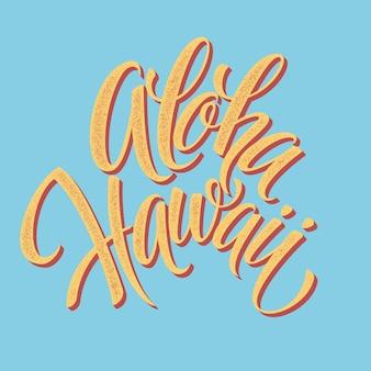 Aloha hawaiian handgemaakte belettering. vintage getextureerde handgemaakte inkttekening.