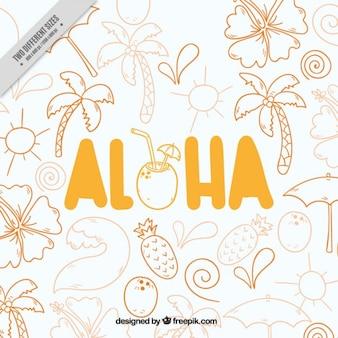 Aloha, met de hand getekende achtergrond