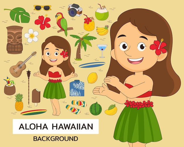 Aloha set leuke hawaiiaanse concept achtergrond. platte pictogrammen.