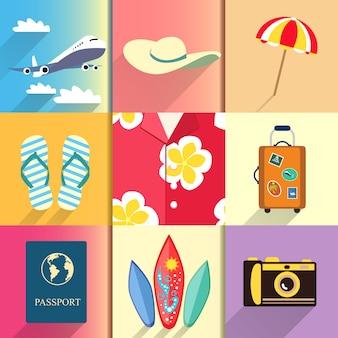 Aloha shirt. reizen en vakantie pictogrammen instellen met vliegtuig paspoort en koffer schoenen vector illustratie