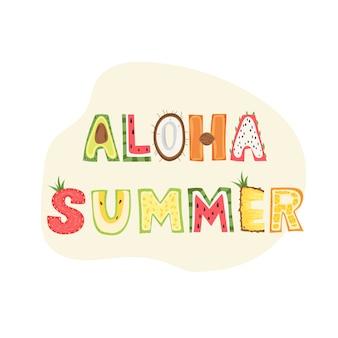 Aloha, zomer - belettering van ontwerp.