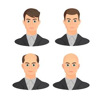 Alopecia concept. set hoofden die de voortgang van het haarverlies laten zien.