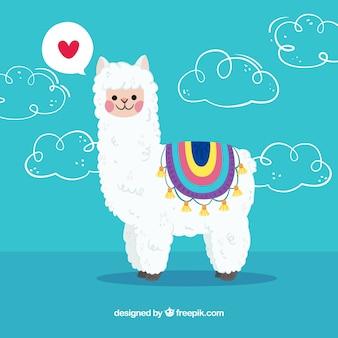 Alpaca achtergrond met liefde concept
