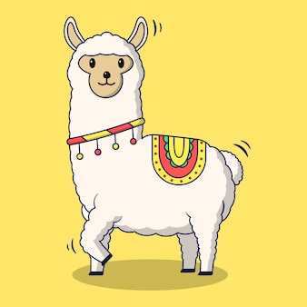 Alpaca cartoon op gele achtergrond