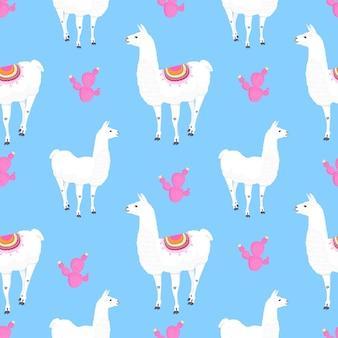Alpaca en roze cactussen. cactus. grappige lama stripfiguur. naadloos patroon voor kinderdagverblijf, stof, textiel, kinderkleding