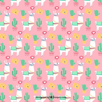 Alpaca-karakterpatroon met plat ontwerp