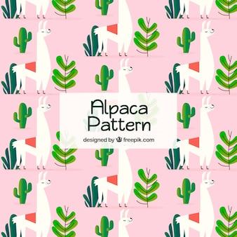 Alpaca-patroon met cactus