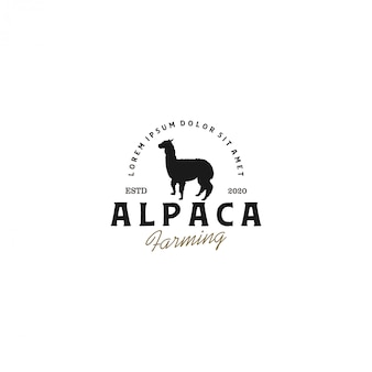 Alpaca silhouet logo, dierenboerderij