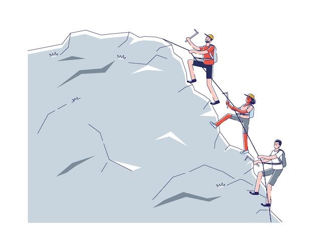 Alpinisme en activiteitssportpersonages klimmen de berg op