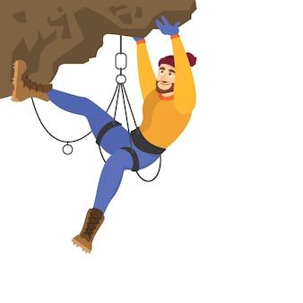 Alpinist beklimt de berg. extreme sport en veel inspanning
