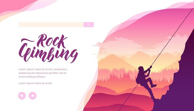 Alpinist, bergbeklimmer die een top verovert. concept van het bereiken van doel, succes, het overwinnen van moeilijkheden.